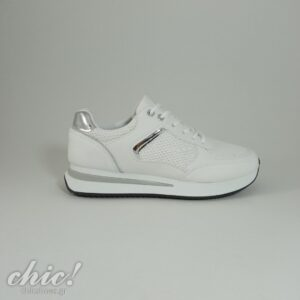 Sneaker σε white απόχρωση με κορδόνι και glitter
