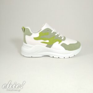 Sneaker σε Λευκή απόχρωση με πράσινο σχέδιο και κορδόνι