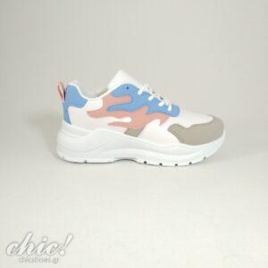 Sneaker σε Λευκή απόχρωση με multy σχέδιο και κορδόνι
